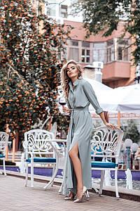 Стильное женское платье-рубашка с длинным рукавом 40 48-50 р