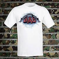 """Мужская футболка для военного с принтом ВДВ """"Никто кроме нас!"""" Push IT S, Белый"""
