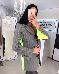 Стильный женский пиджак с яркими деталями 42-44 р