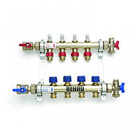 Коллектор для теплого пола на 4 выхода с расходомерами (латунь) HKV-D 4 REHAU