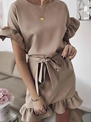 Летнее короткое платье с воланами