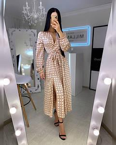 Женское длинное платье из шелка 42-44 р