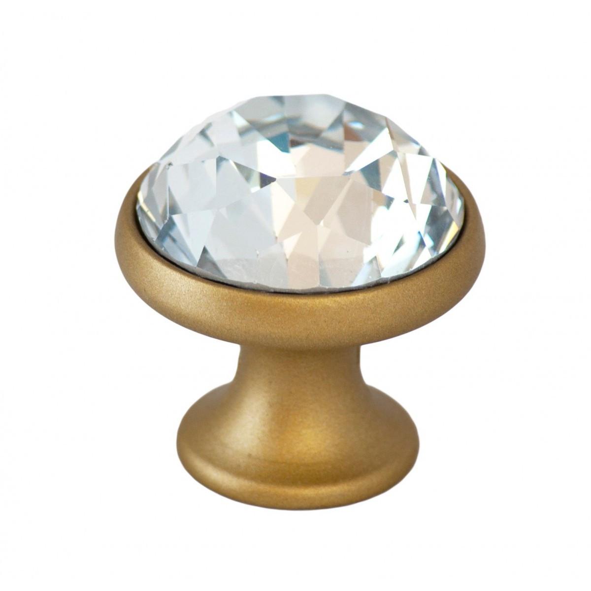 Ручка мебельная Ozkardesler TASLI YAKUT DUGME 6098-04 Матовое Золото с камнями
