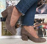 Nona! женские качественные классические туфли черная кожа взуття на каблуке 7,5 см, фото 10