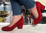 Nona! женские 40 41 42 43 размер качественные классические туфли красные взуття на каблуке 7,5 см батал, фото 2