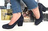 Nona! Женские качественные классические туфли синего цвета взуття на каблуке 7,5 см батал размер 40,41,42,43, фото 10