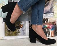 Nona! женские качественные классические туфли батал размер черная замша взуття на каблуке 7,5 см, фото 1