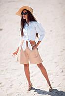 Красивые женские шорты бежевый