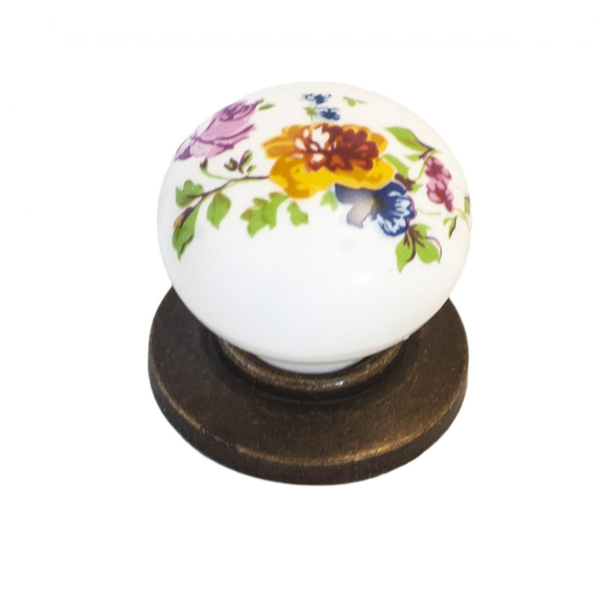 Ручка мебельная Ozkardesler 6073-08/42 керамика KURE PULLU PORSELEN Бронза Цветы