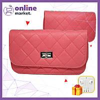 Розовая женская сумка клатч Chanel / Дамская сумочка + Наушники в Подарок