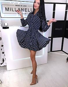 Красивое женское платье мини в горошек 42-44 р