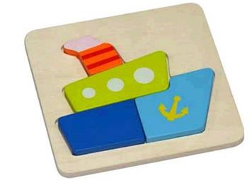Пазл дерев'яна яний Кораблик №HJ98413(48)
