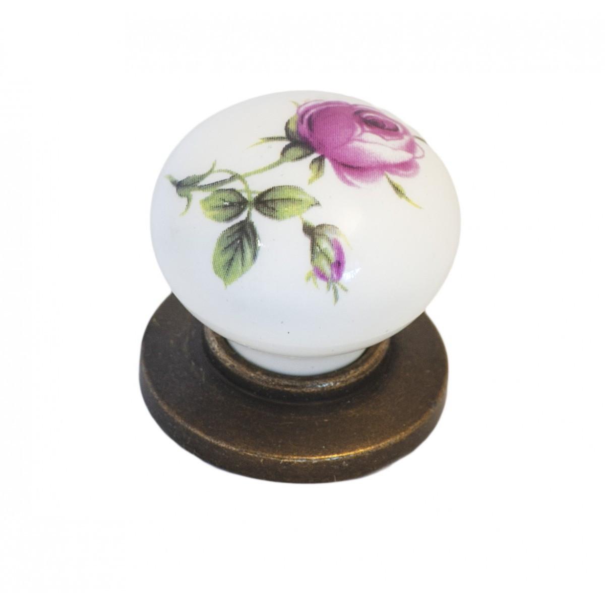 Ручка мебельная Ozkardesler 6073-08/44 керамика KURE PULLU PORSELEN Бронза Роза
