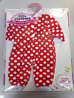 Одежда для пупса беби борна комбинезон красный с белым горохом