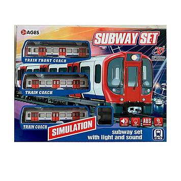 Залізниця на бат-ці,локомотив,вагон 2шт.,звук.,світ,в кор-ці,40х30,5х7см, №5508(24)