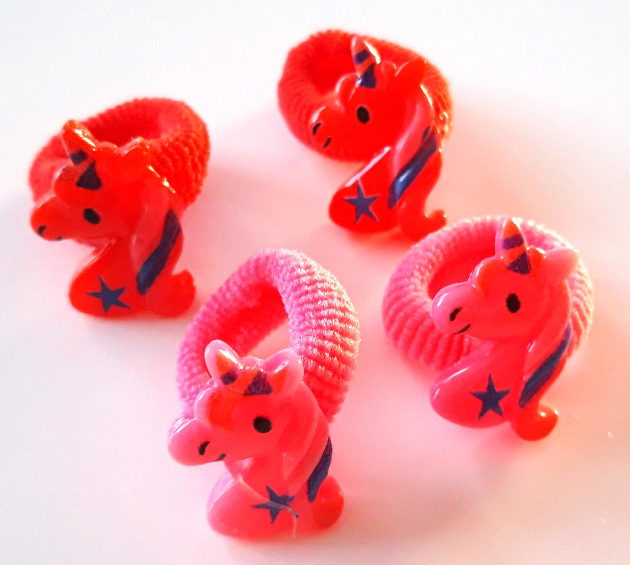 Детские резинки для волос маленькие 4 шт единороги малиновые и красные
