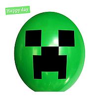 """Гелиевый шар 12"""" (30 см) Minecraft Creeper / Майнкрафт Крипер дарк грин (1шт.)"""