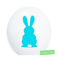 """Гелієва куля 12"""" (30 см) Блакитний зайчик на білому + хвостик (1шт.)"""