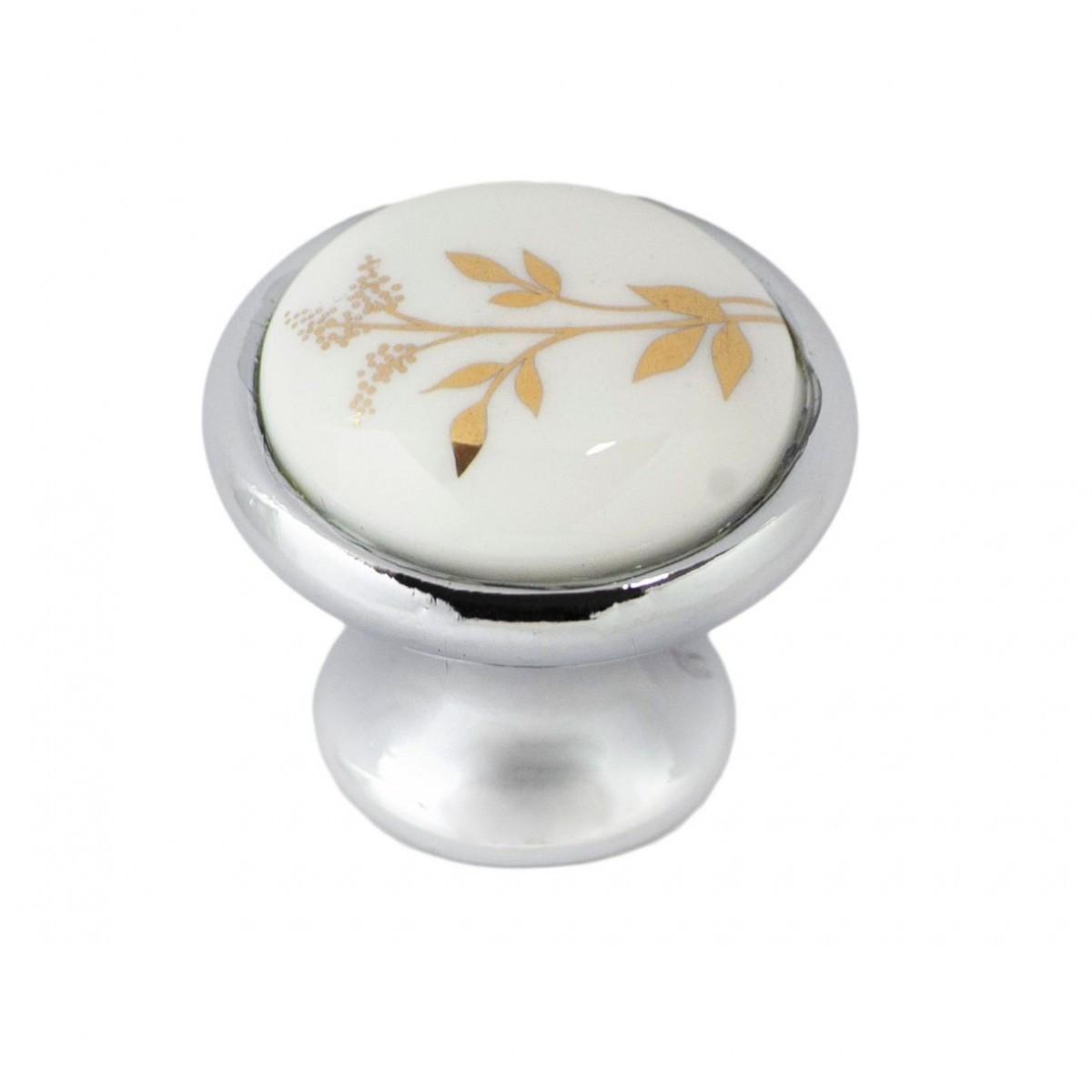 Ручка меблева Ozkardesler 6072-06/40 кераміка MONA DUGME PORSELEN Хром-Колос