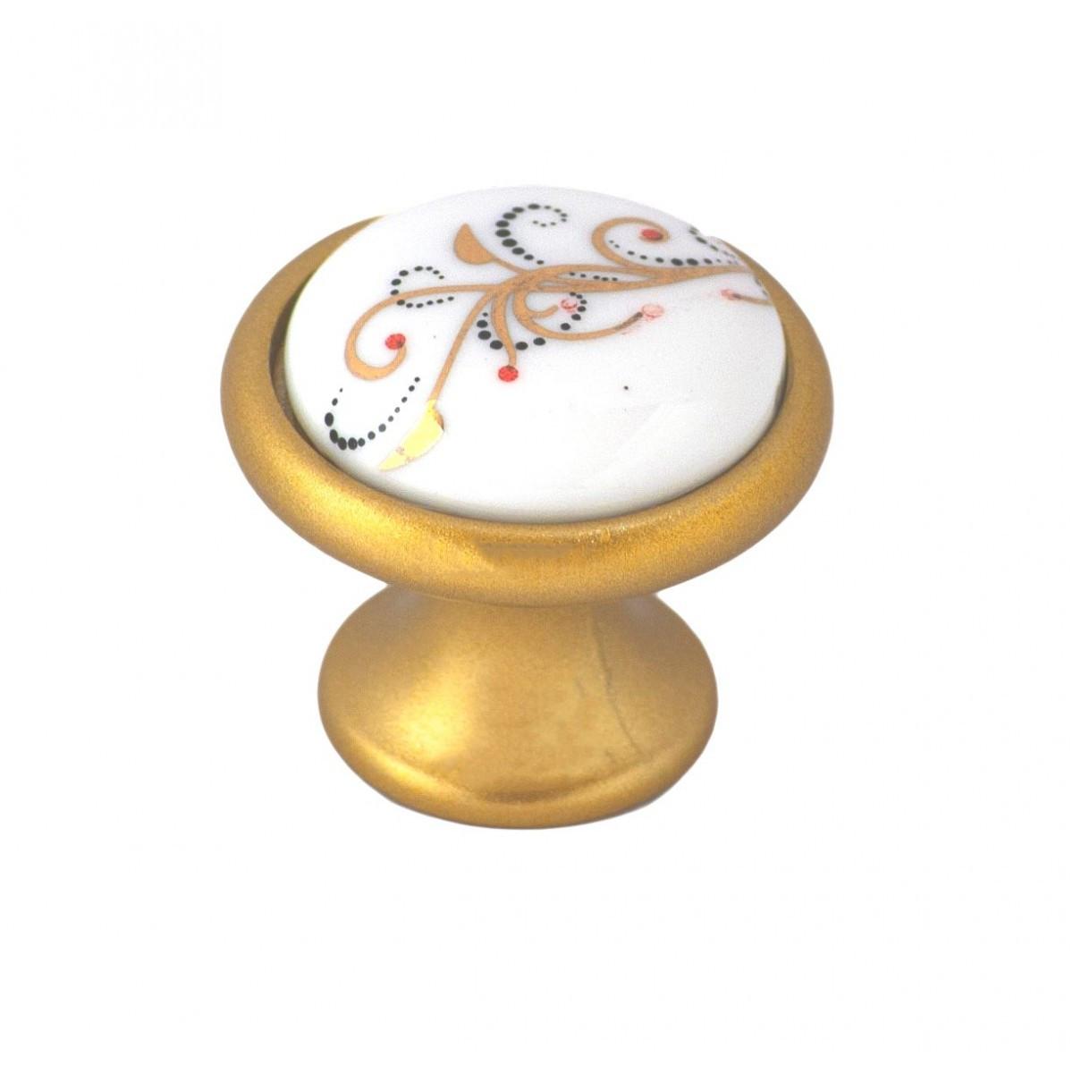 Ручка мебельная Ozkardesler 6072-04/41 керамика MONA DUGME PORSELEN Матовое Золото-Лоза