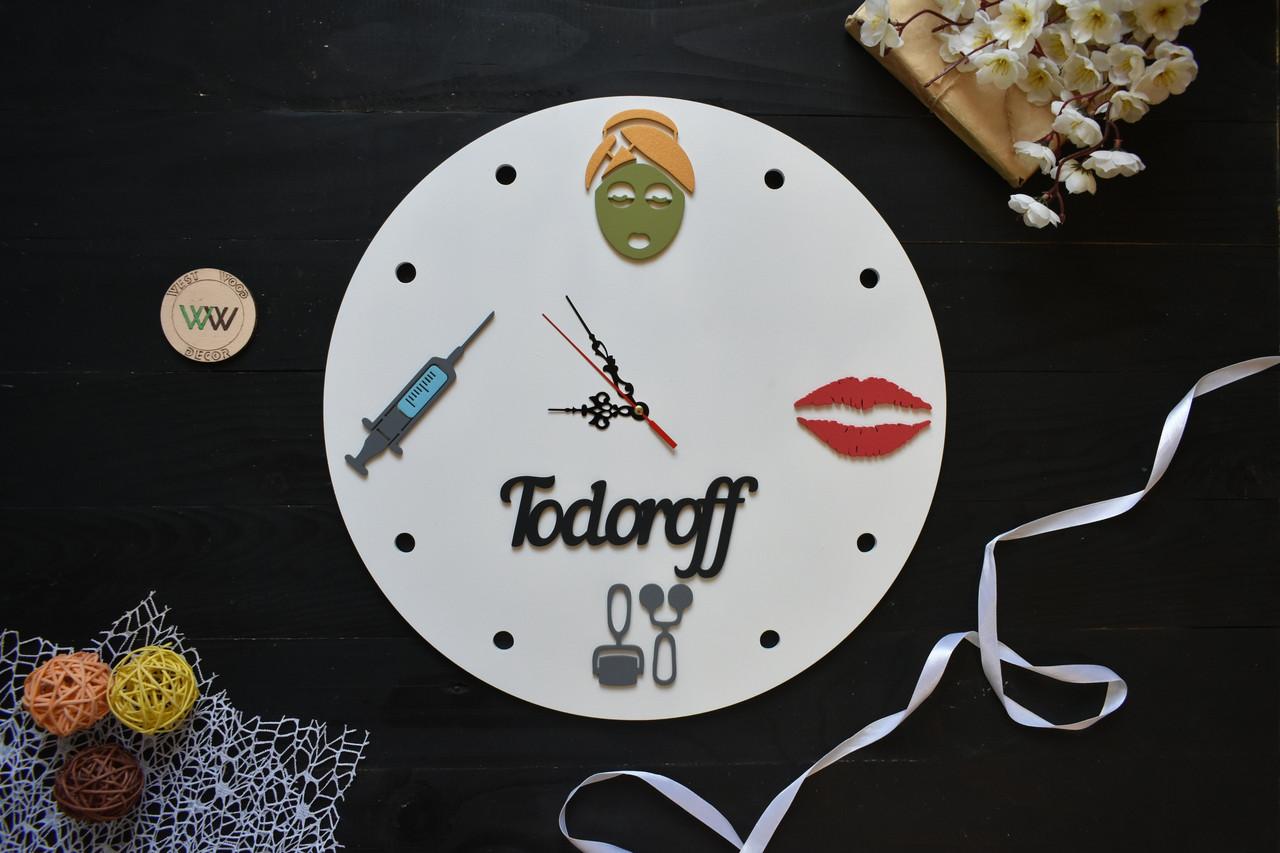 Настенные часы из дерева для косметолога с названием салона, beauty salon, для вашего кабинета