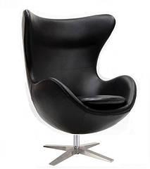 Кресло Эгг (Egg), кожзам, металл, цвет черный