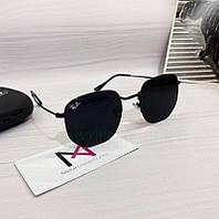 Солнцезащитные шестигранные очки унисекс Ray Ban реплика черные, фото 1