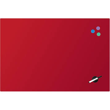 "Дошка ""Axent"" №9615-06-A магнітно-маркерна,скляна,60х90см,червона"