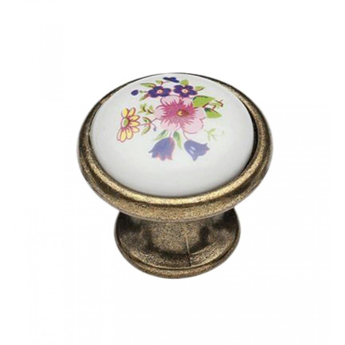 Ручка мебельная Ozkardesler 6072-08/43 керамика MONA DUGME PORSELEN Бронза Сирень