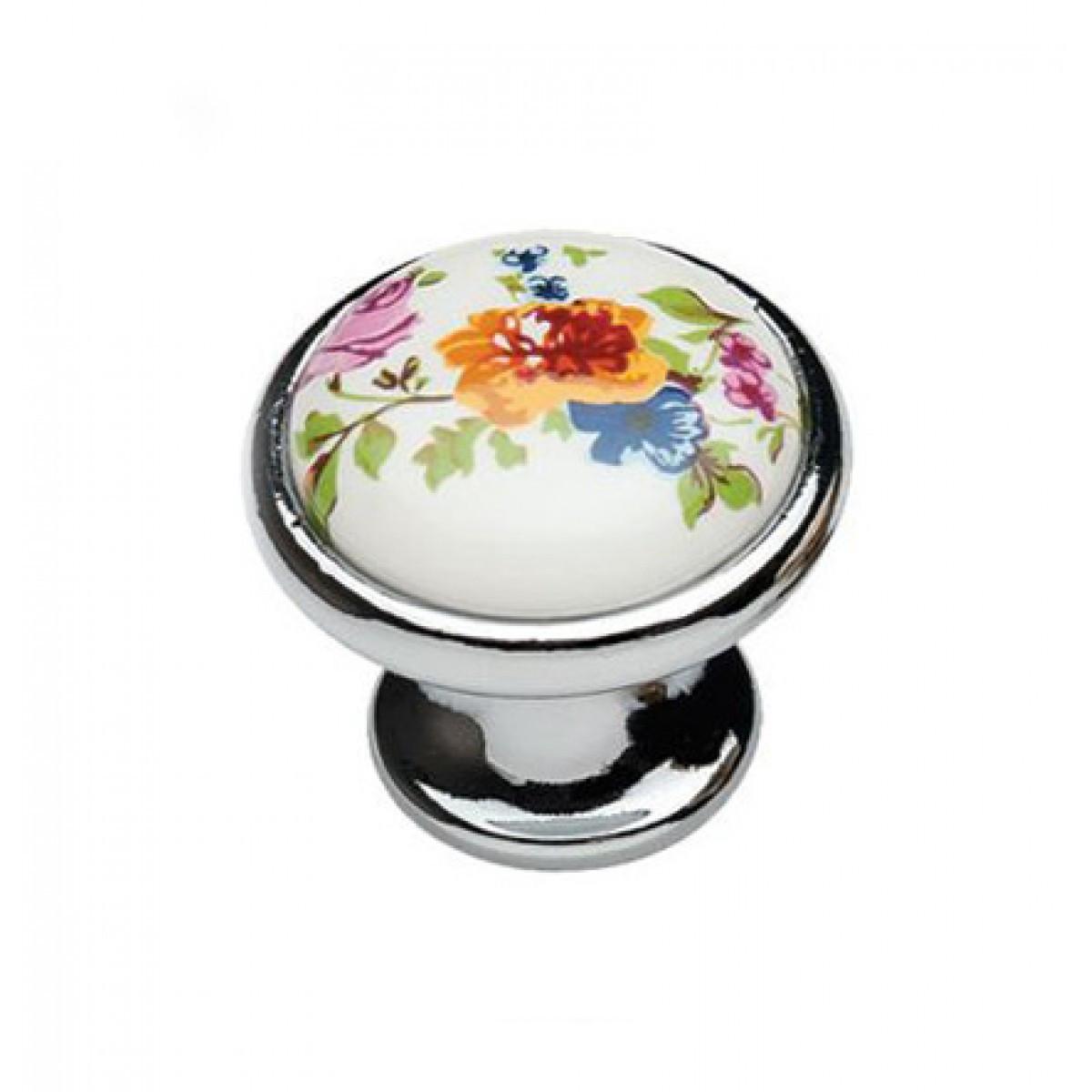 Ручка мебельная Ozkardesler 6072-06/42 керамика MONA DUGME PORSELEN Хром-Цветы