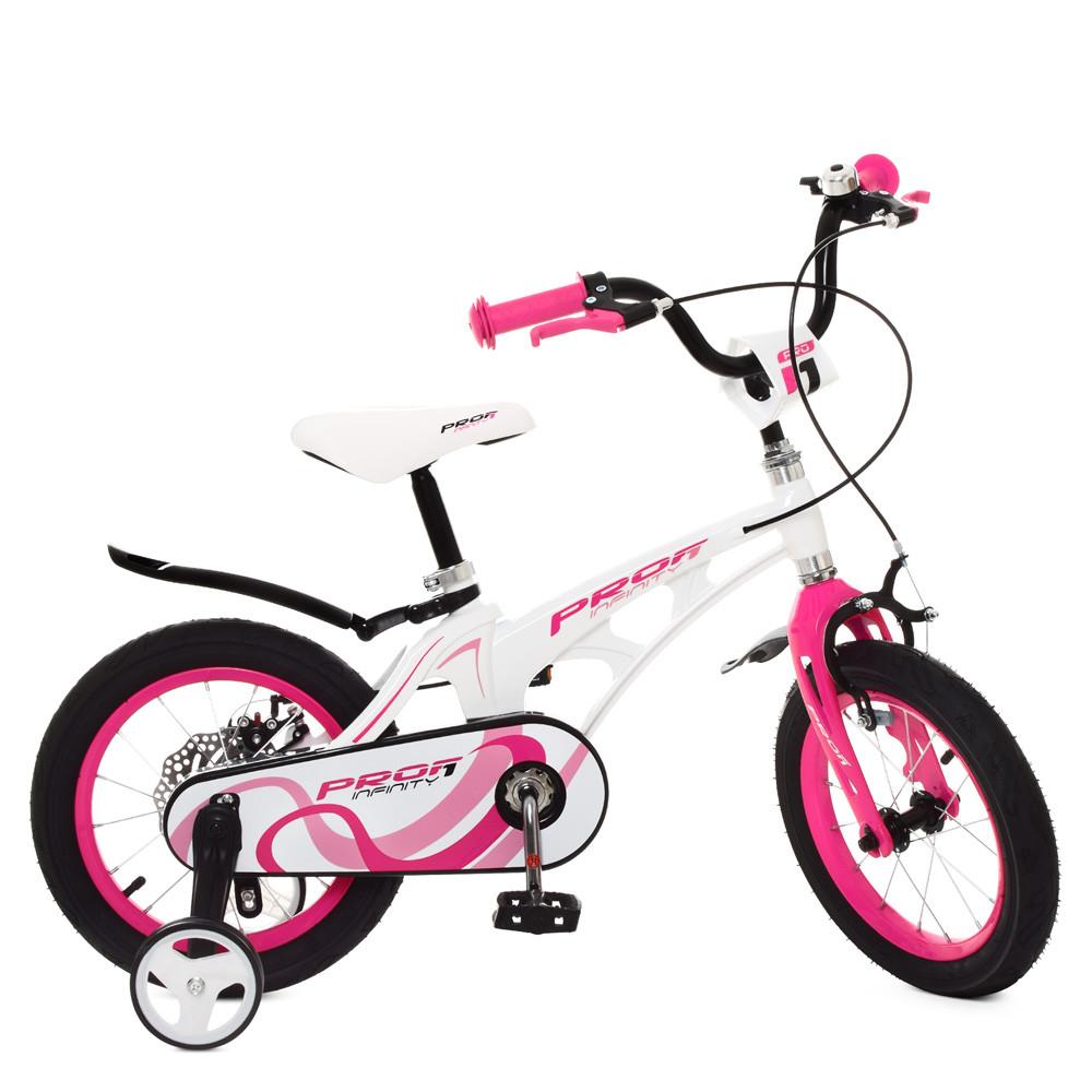 Велосипед дитячий PROF1 14 Д. LMG14204 біло-рожевий
