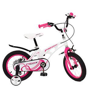 Велосипед детский PROF1 14 Д.  LMG14204 бело-розовый, фото 2
