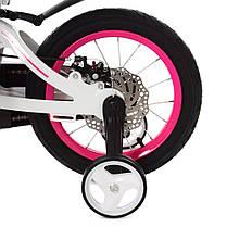 Велосипед дитячий PROF1 14 Д. LMG14204 біло-рожевий, фото 3