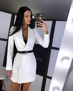 Элегантное женское платье-пиджак с длинным рукавом 42-44 р
