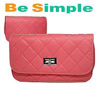 Розовая женская сумка клатч Chanel / Дамская сумочка