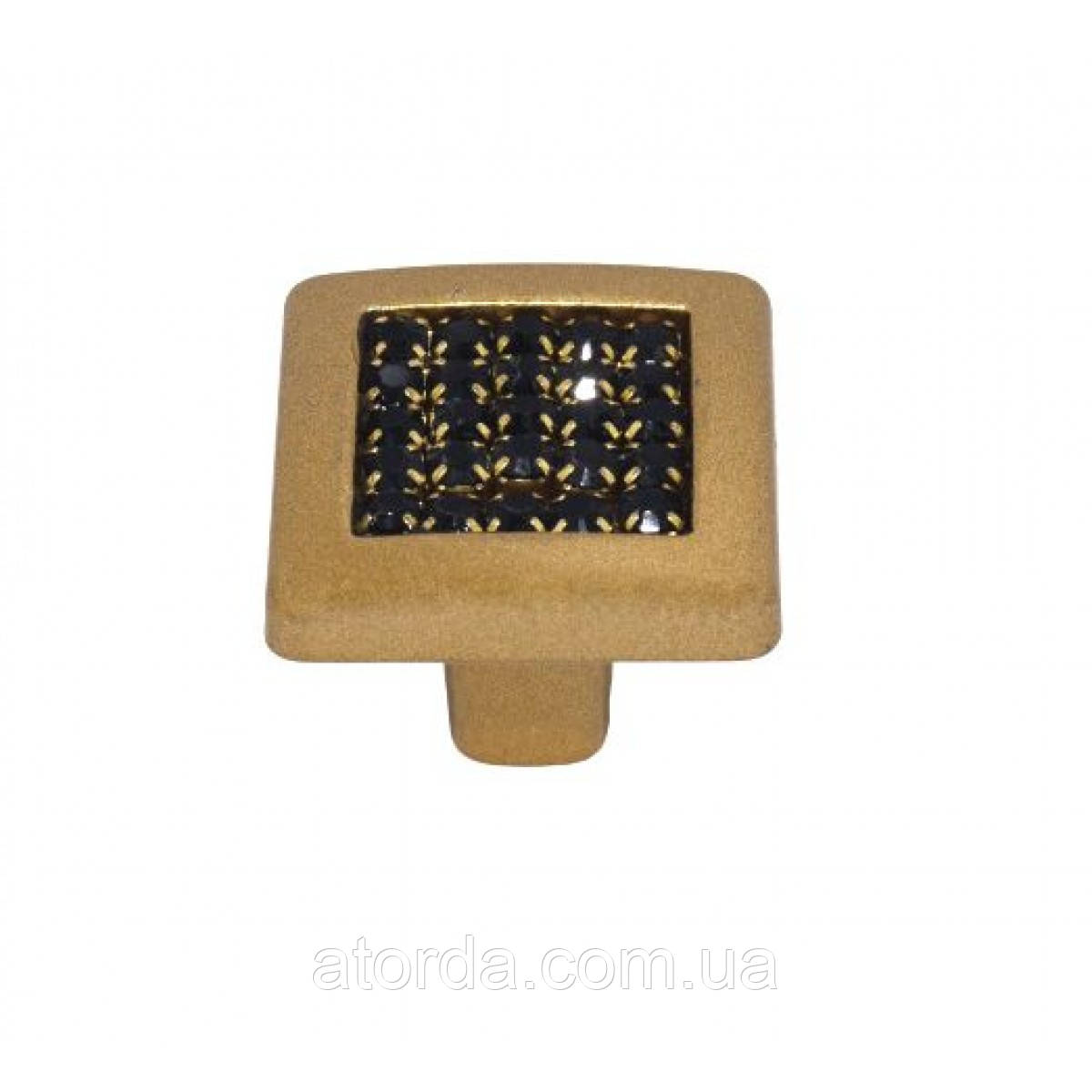 Ручка мебельная Ozkardesler MADRID DUGME 6065-04/04-011 Матовая Золото с черными камнями