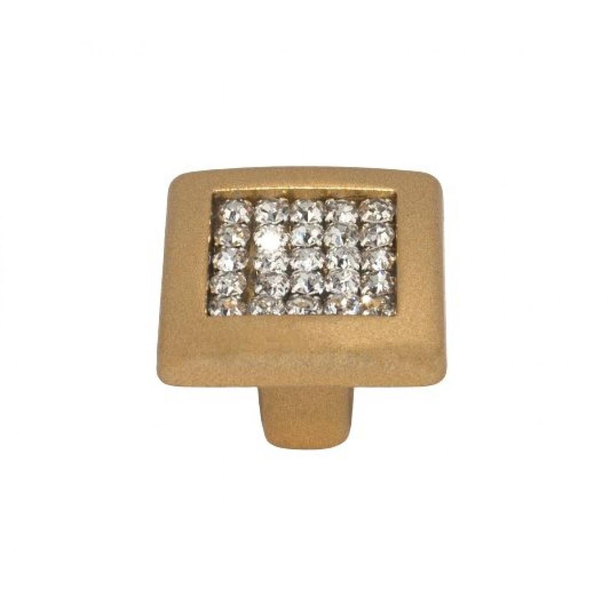 Ручка мебельная Ozkardesler MADRID DUGME 6065-04 Матовая Золото с камнями