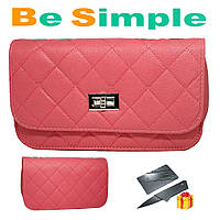 Розовая женская сумка клатч Chanel / Дамская сумочка + Нож визитка в Подарок