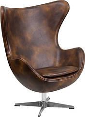 Крісло Егг (Egg), дизайнерське, екожа, метал, колір коричневий