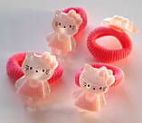 Дитячі гумки для волосся маленькі 4 шт Hello Kitty малинові, фото 2