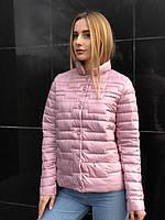 Весенняя осенняя женская розовая стеганая куртка пудра