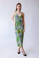 Летнее женское шелковое платье - комбинация с принтом зеленое