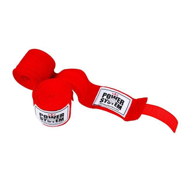Бинти боксерські 4 метри Power System червоні бавовна з еластаном