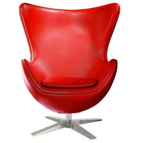 Кресло Эгг (Egg), кожа, цвет красный