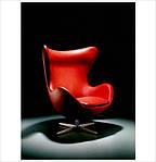 Кресло Эгг (Egg), кожа, цвет красный, фото 3