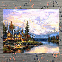 Картина по номерам DIY BABYLON «Закат над горной деревней»