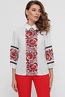 Блуза женская с красными цветами рукав 3/4 принт Вишиванка