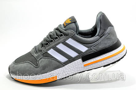 Мужские кроссовки в стиле Adidas ZX 500 Boost, Gray\Orange, фото 2