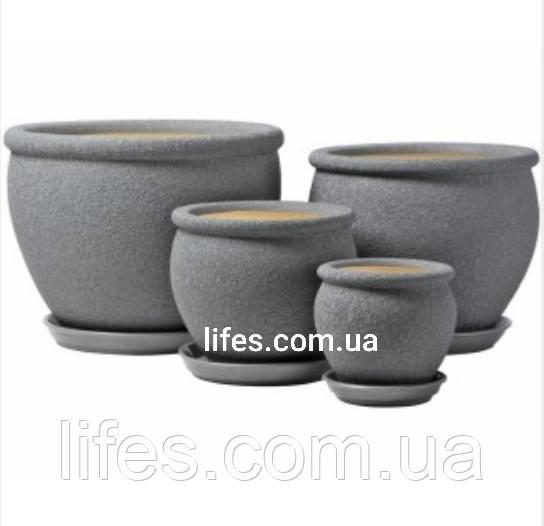 Вазон керамический Вьетнам №4 серый шелк 1.4л