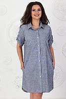 Сукня сорочка арт. 390 сірий в білу смужку